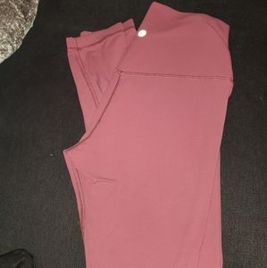 Lululemon high waisted leggings coral color